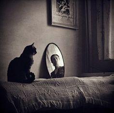 Self Portrait with Cat, 2009, Gosia Janikdefinitely frida kahlo influenced black and white art photography