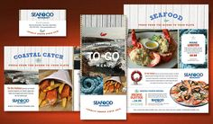 Seafood Restaurant Menu, Postcard, Flyer & Ads, Take Out Brochure, and Stationery Designs - Ideas for website - I like the idea of using wood as the background image (will show-through in java screens)