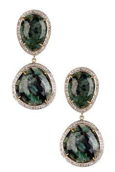 White Diamond & Natural Emerald Earrings on HauteLook