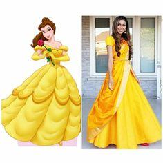 Disney Princess Beauty & the Beast Belle saree style   www.tiabhuva.com  Instagram @tiabhuva Youtube.com/tiabhuva