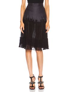 Givenchy Lace Pleated Skirt in Black | FWRD