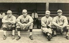 Baseball Players from left Babe Ruth, Ernie Shore, Rube Foster, Del Gainer players for the Boston Red Sox, American League. Created between 1915 an 1917 for the Bain News Service. Baseball Dugout, Red Sox Baseball, Baseball Players, Baseball League, Baseball Movies, Orioles Baseball, Baseball Gear, Baseball Equipment, Sports Baseball