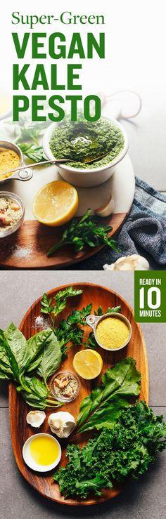HEALTHY Super-Green Vegan Pesto! BIG flavor, 10 minutes, 1 bowl, SO delicious. #vegan #glutenfree #plantbased #sauce #pesto #greens #minimalistbaker #recipe