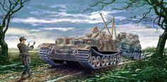1944 Italia Anzio BergePanzer Tiger Porsche Schwere PanzerJäger Abteilung 653