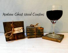 Set of FOUR Montana Ghost Wood Coasters  These Rustic Gray Solid Wood Coasters have the distinctive look, texture and character of reclaimed wood with the performance of new wood. They have an eco-friendly finish that will continue to withstand moisture. Ghost Wood is reclaimed from Mother Nature by way of standing dead or forest fire killed timber.  NOTE: My camera tends to stretch lines. These coasters are square!   Each Coaster measures 4 x 4 x 1/2