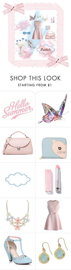 """Summer Pastels"" by neesyrn on Polyvore featuring Jane Lee McCracken, The Cambridge Satchel Company, Furla, Chicwish, Chan Luu, Karen Walker and Gold Eagle"