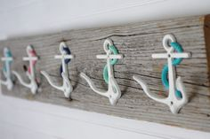 Five Anchor Wall Hooks Mounted on Recycled by ByTheSeashoreDecor
