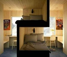 Great idea for shared bedroom, a unique variation on a bunk bed provides each child/person more privacy et creates each their own space. Comfy Bedroom, Bedroom Sets, Kids Bedroom, Unique Bedroom Furniture, Furniture For Small Spaces, Small Rooms, Full Size Bunk Beds, Unique Bunk Beds, Bedroom Divider