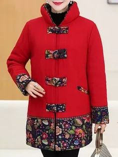 Vintage Women Printed Stand Collar Coat – Style is art Diy Denim, Plus Size Puffer Coat, Plus Size Winter Jackets, Coats For Women, Clothes For Women, Plus Size Outerwear, Womens Fashion Stores, Embroidery Fashion, Carhartt