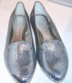 Alexander Mcqueen Womens Shoes Silver Sequins, loafers Size 7, Originally $1055 NOW ON SALE $308!