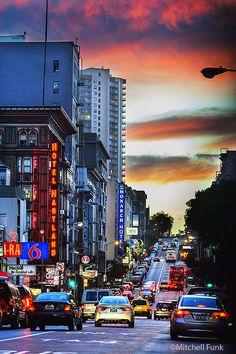 Traffic On Geary Street In The Tenderloin At Sunset, San Francisco By Mitchell Funk www.mitchellfunk.com