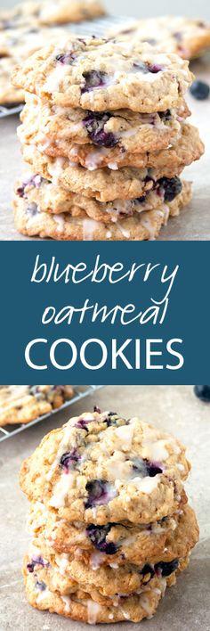 Blueberry Oatmeal Cookies with a Fresh Lemon Glaze   ahappyfooddance.com