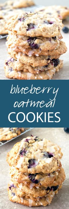 Blueberry Oatmeal Cookies with a Fresh Lemon Glaze | ahappyfooddance.com