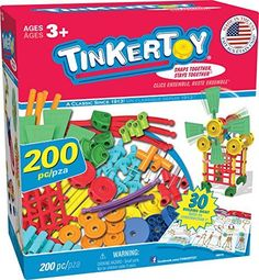 "My kids love Tinkertoys. Tinkertoys build imagination and hand strength. ""Tinkertoy 30 Model, 200 Piece, Super Building Set"""