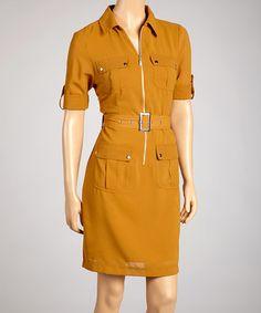 Love this Mustard Zip-Up Dress on #zulily! #zulilyfinds