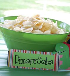 Ruffles- Dino, Fritos- Dino Claws, Bugles- Sharp Teeth, Chicken Dip- Lava Dip, Meatballs- Prehistoric Tar Pit, Dino nuggets, Grilled cheese Long Necks. Dinosaur Party Foods, Dinosaur Themed Food, Dinosaur Train Party, Dinosaur Birthday Party, 3rd Birthday Party For Boy, Third Birthday, Dragon Birthday Parties, Dragon Party, Birthday Ideas