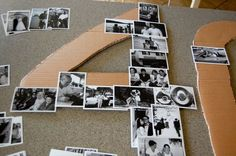 Arranging letters or numbers out of photos with cardboard backing (Diy Geschenke.de Arranging letters or numbers out of photos with cardboard backing (Diy Geschenke. 70th Birthday Parties, 50th Party, Dad Birthday, Diy Party, Ideas Party, Diy 40th Birthday Decorations, Anniversary Party Decorations, 50th Birthday Ideas For Mom, Birthday Party Ideas For Adults