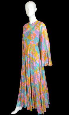 1970s silk floral chiffon maxi dress - vintage dress $195