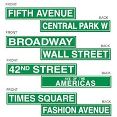 New York Street Signs (New York State of Mind)