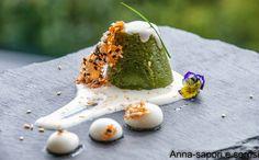 ANNA-SAPORI E SORRISI: Flan di spinaci con fonduta di formaggio e cialda al sesamo