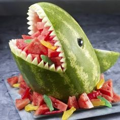 Fun with water melon carving during shark week!