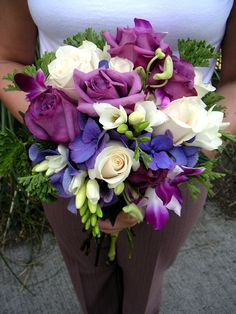 Purple & White Bridal Bouquet by Aria Style / www.ariastyle.com / https://www.facebook.com/AriaStyle