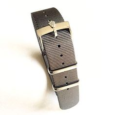 5167937f666 20mm Nato Nylon Replacement Watch Strap Band Grey with Polish Rolex Buckle  Fit Rolex Diver Submariner