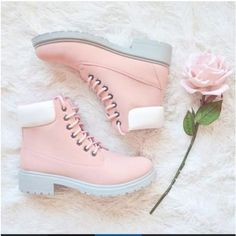 Shoes: pink boot boots white pastel tumblr cute teenagers girl floral... ❤ liked on Polyvore