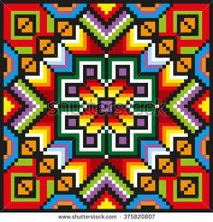 Geometric Square Pattern Cross Stitch Ukrainian Stock-Vektorgrafik (Lizenzfrei) 253217815 : Stitching floral pattern in desaturated colors. Pixel Art, Native American Patterns, Rustic Decorative Pillows, Cross Stitch Pillow, Cross Stitch Patterns, Mandala, Images, Illustrations, Canvas
