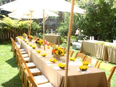 Setting for a bright and colorful, #bridalshower -View this Tuscan theme via bridalguide.com #genettimanor