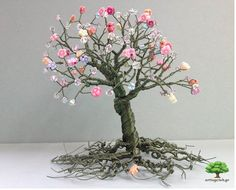 Wire tree made of colored cooper wire with acrylic and glass beads — www.artingclub.gr  We also want to win a ticket for #worldofcrafters meeting www.worldofcrafters.gr