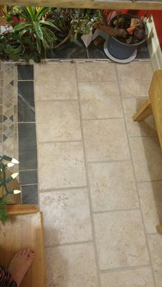 Tile project on stair landing. Tile Projects, House Projects, Stair Landing, Tile Floor, Stairs, Flooring, Crafts, Staircase Landing, Stairway