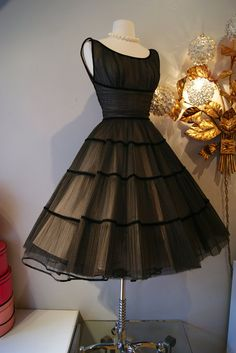 50s Dress // Vintage 1950's Black Beauty Party by xtabayvintage