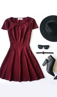 #lovelulus Best Classic women style. Burgundy short Dress + Black hat, high Boots, watch & Sunglasses