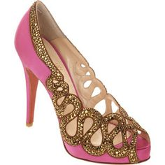 Pink Christian Loboutin satin peep-toe shoes, posted via www.SHOELUST.us