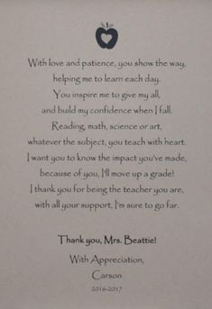Personalized Teacher Thank You Gift Teacher Appreciation Gift End of Year Teacher Gift Teacher Poem Custom Poetry Gift from Student Thank You Poems For Teachers, Message For Teacher, Teachers Day Card, Thank You Teacher Gifts, Thank You Messages, Teacher Name, Your Teacher, Poems About Teachers, Teacher Cards