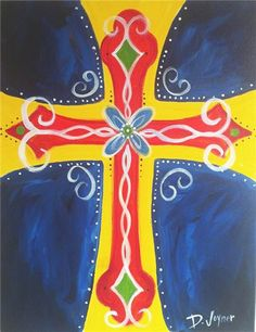 The Tipsy Canvas - Cross Painting easter project Religious Paintings, Cross Paintings, Religious Art, Classroom Art Projects, Art Classroom, Kunst Party, Bible Verse Canvas, Cross Art, Biblical Art
