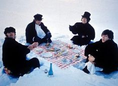 Famous shot of the Beatles' snow picnic
