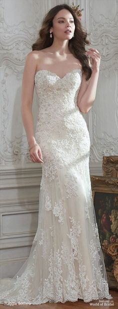 Enchantment is found in this classic lace and tulle sheath wedding dress, accented with shimmering beads and a timeless sweetheart neckline and stunning illusion lace back. Finished with covered buttons over zipper closure. Detachable beaded lace cap-sleeves sold separately.