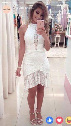 7afbe4920 Vestidos Brancos, Vestidos Curtos, Vestidos De Verão, Moda Festa, Roupas De  Festa
