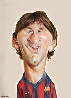 El jugador de fútbol del FC Barcelona, Leo Messi, caricaturizado por el artista Sebastian Cast.    ...