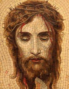Mosaic Tile Art, Mosaic Artwork, Christian Images, Christian Art, Jesus Christ Painting, Mosaic Portrait, Jesus Pictures, Mosaic Projects, Mosaic Patterns