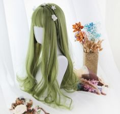 ★Overhead green curly lolita wig # scalp Braids it works ★Overhead green curly lolita wig Pelo Lolita, Lolita Hair, Lolita Dress, Braided Hairstyles Updo, Pretty Hairstyles, Wig Hairstyles, Anime Wigs, Anime Hair, Emo Hair