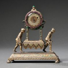 Viennese Silver, Gilt-metal, Enamel, Jeweled, and Lapis Lazuli Clock, Austria, late 19th century