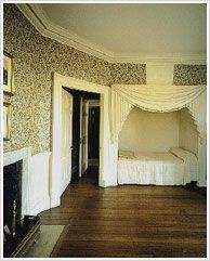 The North Octagonal Room was a bedroom and possibly a sitting room, used frequently by James and Dolley Madison. Featured is the French wallpaper -- the original trellis pattern has been reproduced. Jefferson purchased wallpaper for other rooms, but researchers have not yet found enough evidence to reproduce it.