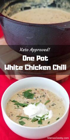 One Pot Keto White Chicken Chili Recipe (Perfect for the Cold Weather!) One Pot Keto White Chicken Chili Recipe (Perfect for the Cold Weather! Keto Chili Recipe, Chili Recipes, Soup Recipes, Diet Recipes, Chicken Recipes, Vegan Recipes, Dessert Recipes, Breakfast Recipes, Keto Chicken