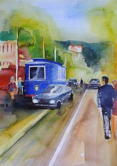 Barcelona Series III  Park Güell  4 2018  Aquarell auf Bütten #Barcelona #Park Güell #Strassenszene #Strassenbahn #Tram #streetcar#Kontraste #Martin Räder #Instagram @artoflifecolours  #kunst #art #aquarelle #watercolours #city #painting #artwork #artistoninstagram #artist_sharing #artist_4_help #holiday #plein air painting #paintingonholiday - my website: www.martin-raeder-bildergalerie.de