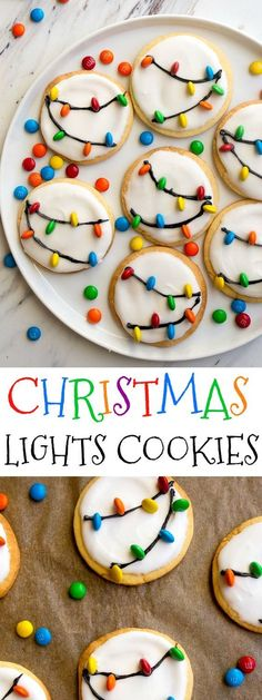 Christmas Lights Cookies for Santa! Easy royal icing recipe and mini M&Ms look l., Desserts, Christmas Lights Cookies for Santa! Easy royal icing recipe and mini M&Ms look like Christmas lights on cookies! Easy Christmas cookies to decorate wi. Best Cookie Recipes, Holiday Recipes, Easy Recipes, Easy Christmas Cookie Recipes, Easy Holiday Cookies, Kids Baking Recipes, Baking With Kids Easy, Easy Cakes For Kids, Homemade Christmas Treats