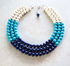 COLOR BLOCK Wood Necklace - Navy Blue Turquoise & White Necklace - Anthropologie Inspired