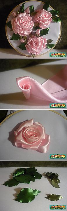 """Master class on embroidery ribbons """"Rose mood» .."""